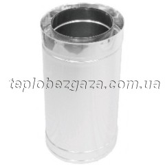 Труба дымоходная двухстенная нерж/нерж Версия Люкс L-0,5 м D-400/460 мм толщина 0,8 мм