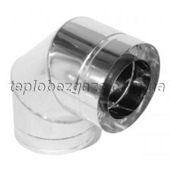 Колено для дымохода двустенное нерж/нерж Версия-Люкс 90° D220/280 толщина 0,6мм