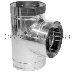 Тройник дымохода двустенный нерж/оцинк Версия-Люкс 87° D160/220 толщина 0,8мм