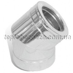 Колено дымохода двустенное нерж/оцинк Версия Люкс 45° D-600/660 толщина 1 мм