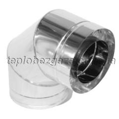 Коліно димоходу двостінне нерж/оцинк Версія Люкс 90° D-140/200 товщина 0,8 мм