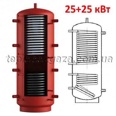 Теплоаккумулятор Energy 1600л с двумя теплообменниками 50 кВт (25+25кВт) с теплоизоляцией (буфер Энергия)