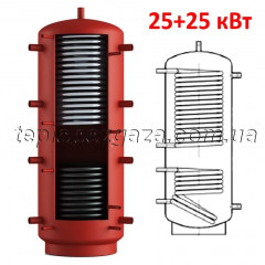 Теплоакумулятор Energy 800л з двома теплообмінниками 25 кВт (25+25кВт) з теплоізоляцією (буфер Энергія)