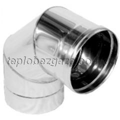 Коліно димоходу фіксоване 90º з нерж. сталі Версія Люкс D-900 мм товщина 0,8 мм