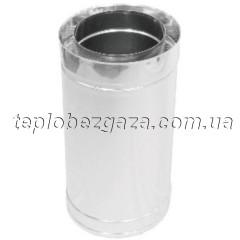 Труба дымоходная двухстенная нерж/нерж Версия Люкс L-1 м D-130/200 мм толщина 0,6 мм