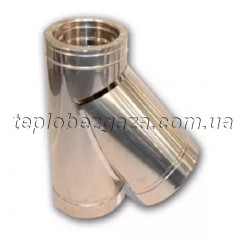 Тройник дымохода двустенный нерж/нерж Версия-Люкс 45° D160/220 толщина 0,6мм с врезкой