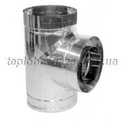 Тройник дымохода двустенный нерж/оцинк Версия-Люкс 87° D100/160 толщина 0,6мм