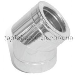Коліно димоходу двостінне нерж/нерж Версія Люкс 45° D-100/160 мм товщина 0,6 мм